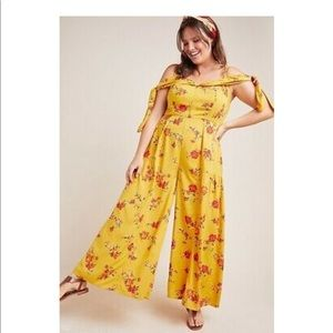 Anthropologie yellow floral jumpsuit NWT